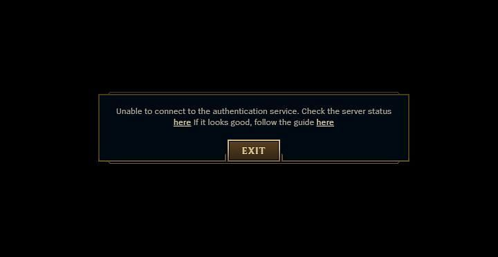 Riot Games Server Issue notification on League of Legends