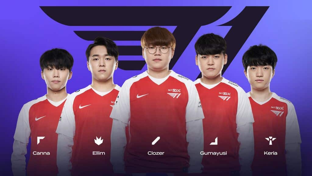 LCK Teams 2021 Roster for T1 - Canna, Ellim, Clozer, Gumayushi, Keria