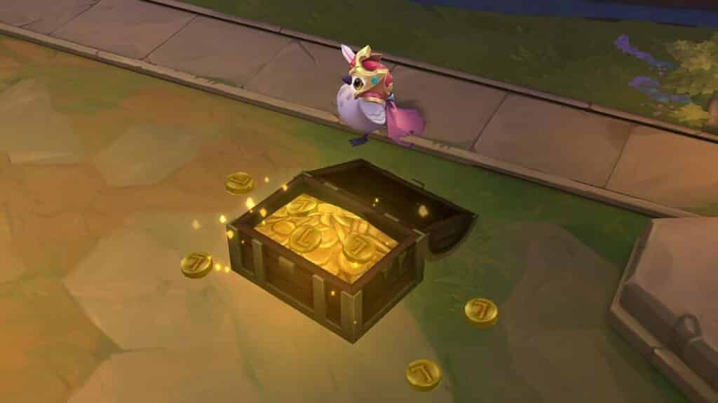 Bird standing over a chest filled with gold coins