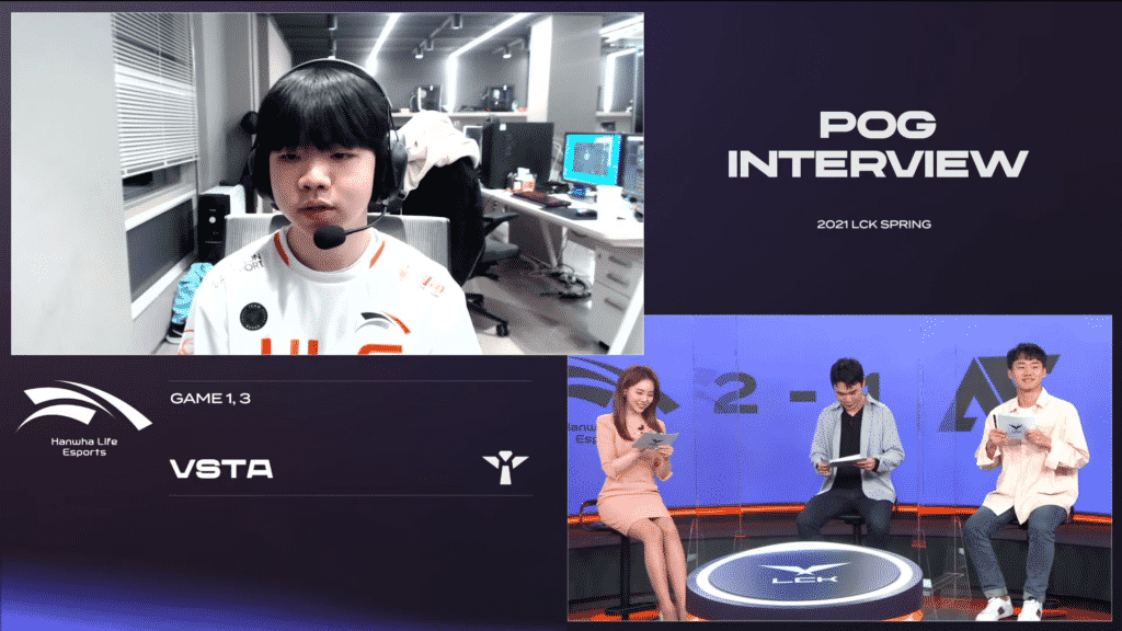 Vsta getting interviewed by the LCK cast