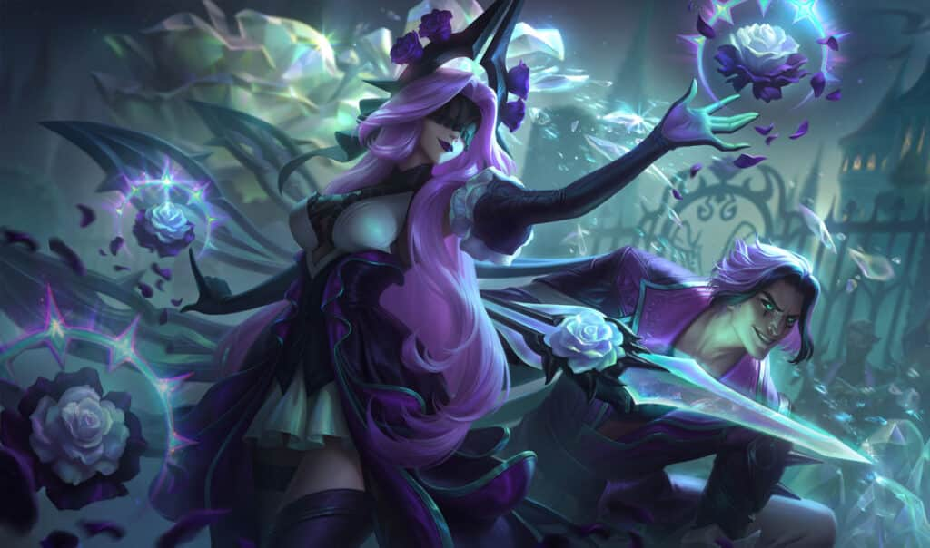 Syndra and Viego holding withered roses