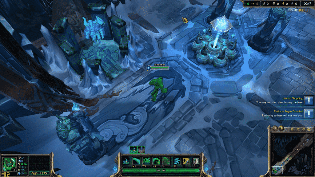 Zac chilling at the base in the Howling Abyss in ARAM