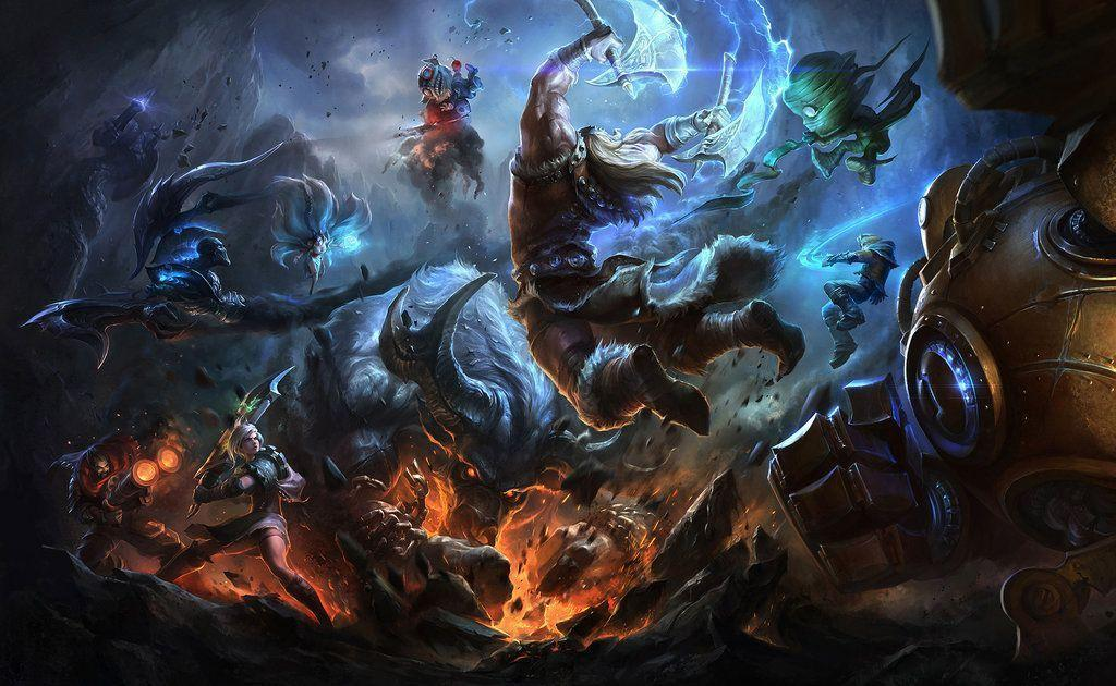 A bunch of League of Legends characters fighting it out - League of LEgends roles