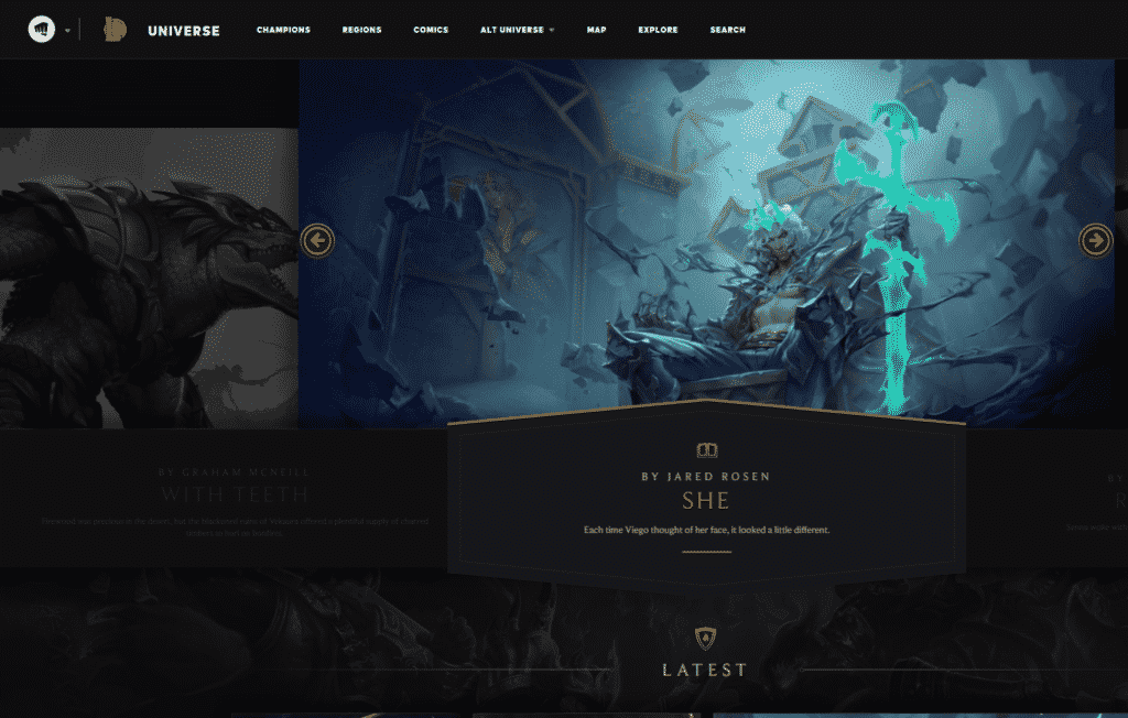 League of Legends official page for Runeterra Universe