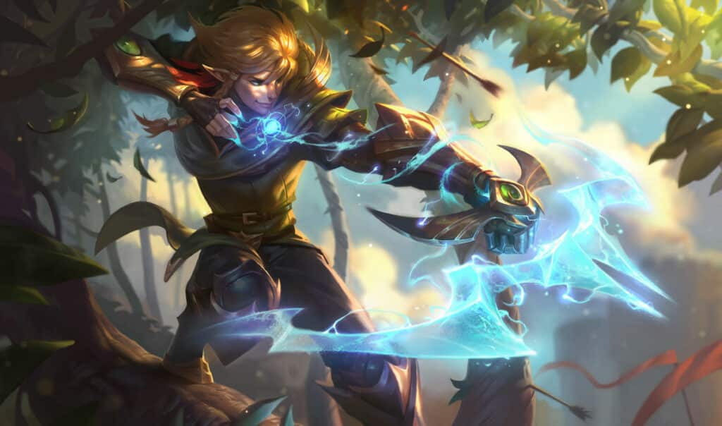 An elven Ezreal shooting arrows on top of a tree