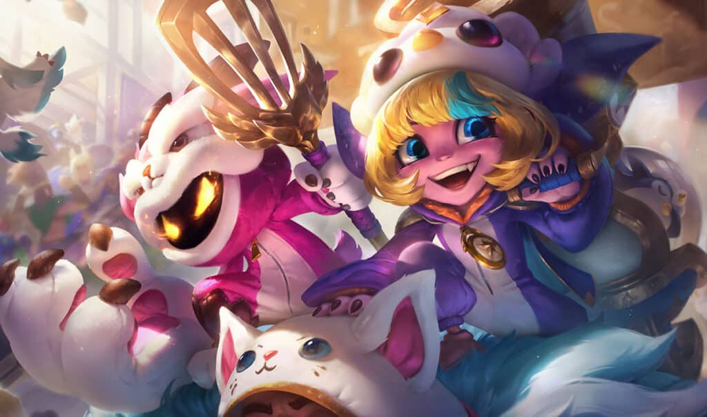 Tristana wearing a snow outfit with snowmen besidee her