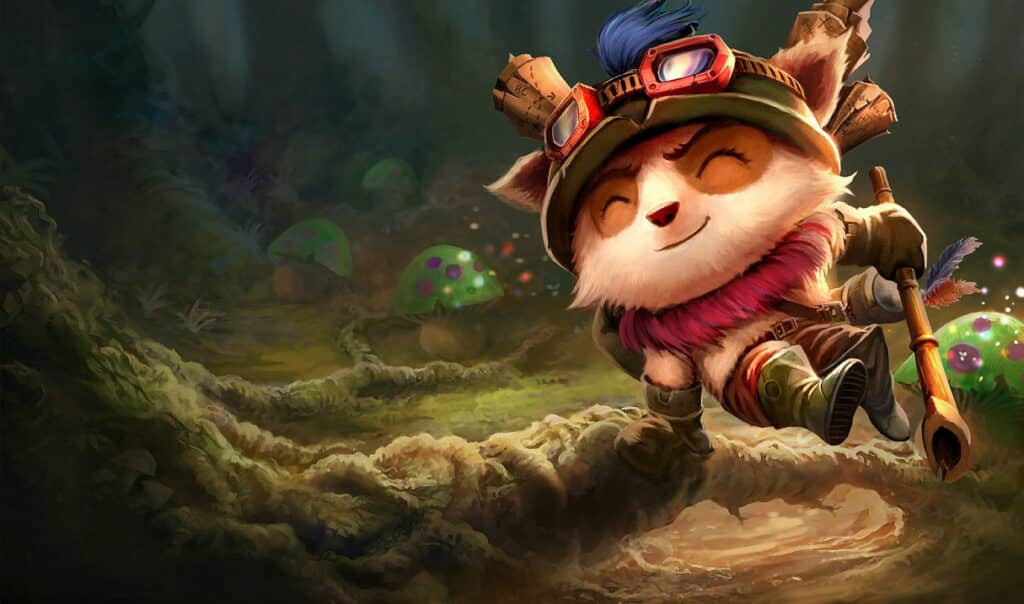 Teemo jumping over a small root | LoL character races