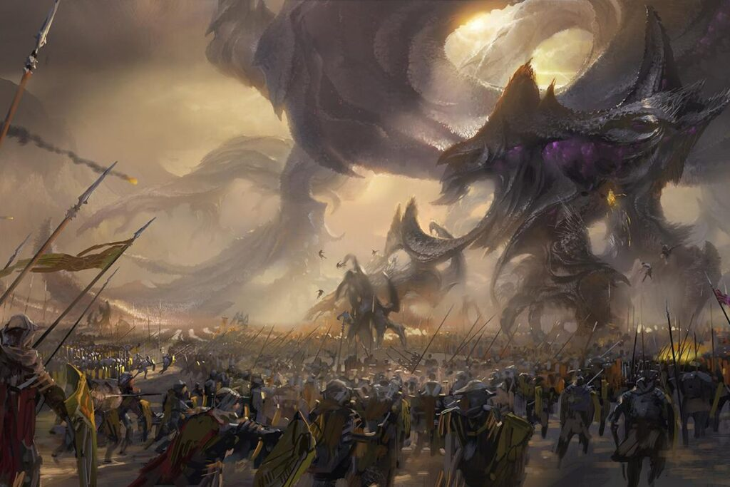 The Icathian and Shuriman Army fighting off a Voidborn