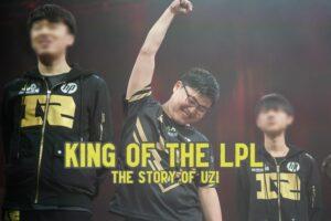 Uzi raising his fist in victory - Uzi League of Legends Story banner