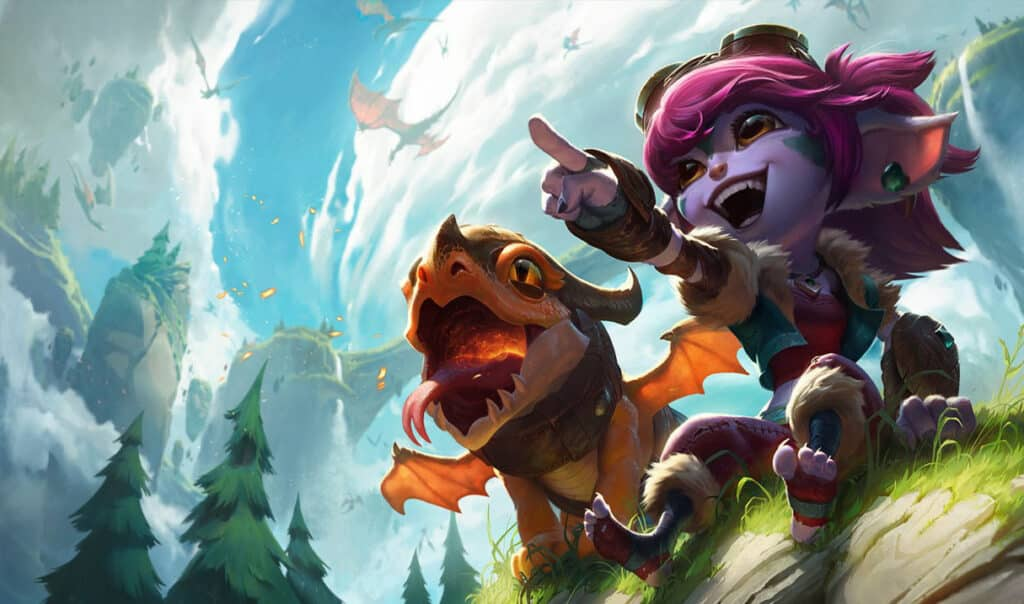 Tristana with her cannon as a small dragon