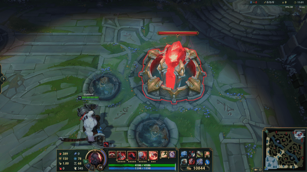 Sion standing in front of the enemy Nexus