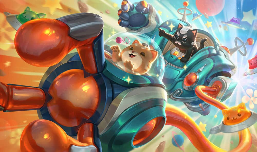 Two cats named Blitz and Crank piloting a robot
