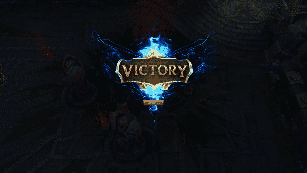 Post-game showing the Victory Screen