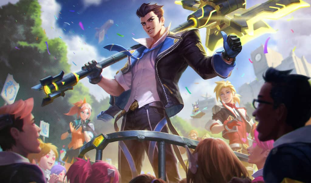 Jayce wearing a school uniform while carrying his hammer