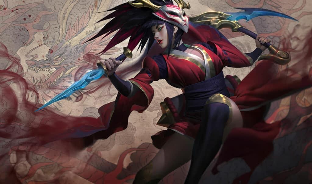 Akali wearing a blood-red kimono | League of Legends Assassins