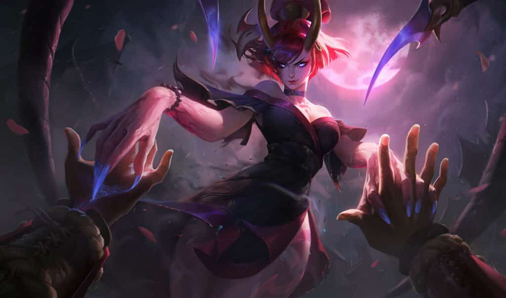 Evelynn staring at her pray under the Blood Moon - League of Legends Assassins