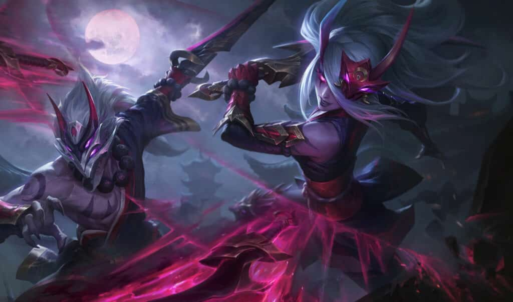 Katarina throwing out blood-red blades at the enemies