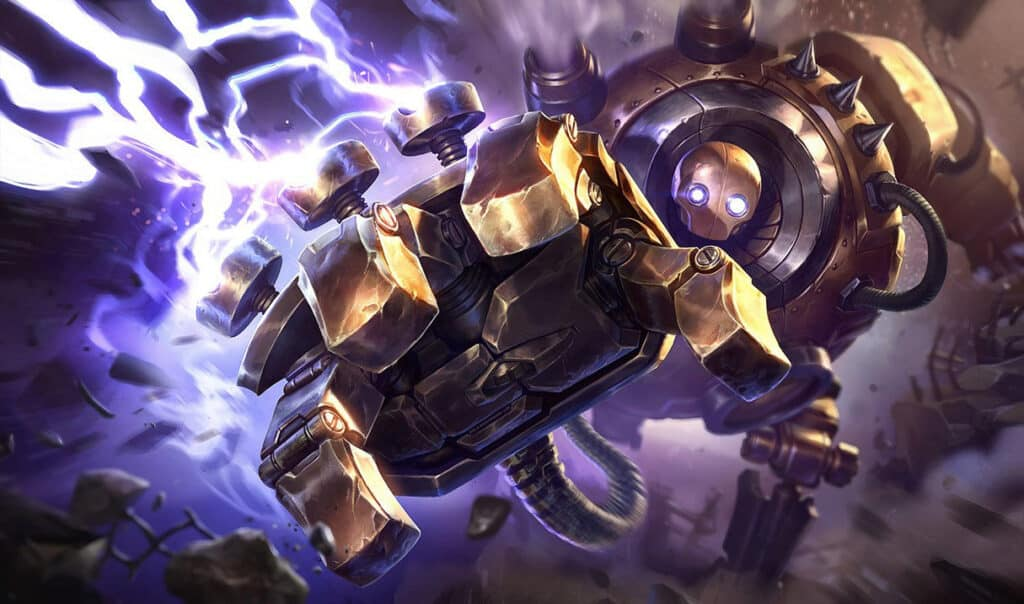 Blitzcrank with a sparking fist reaching out