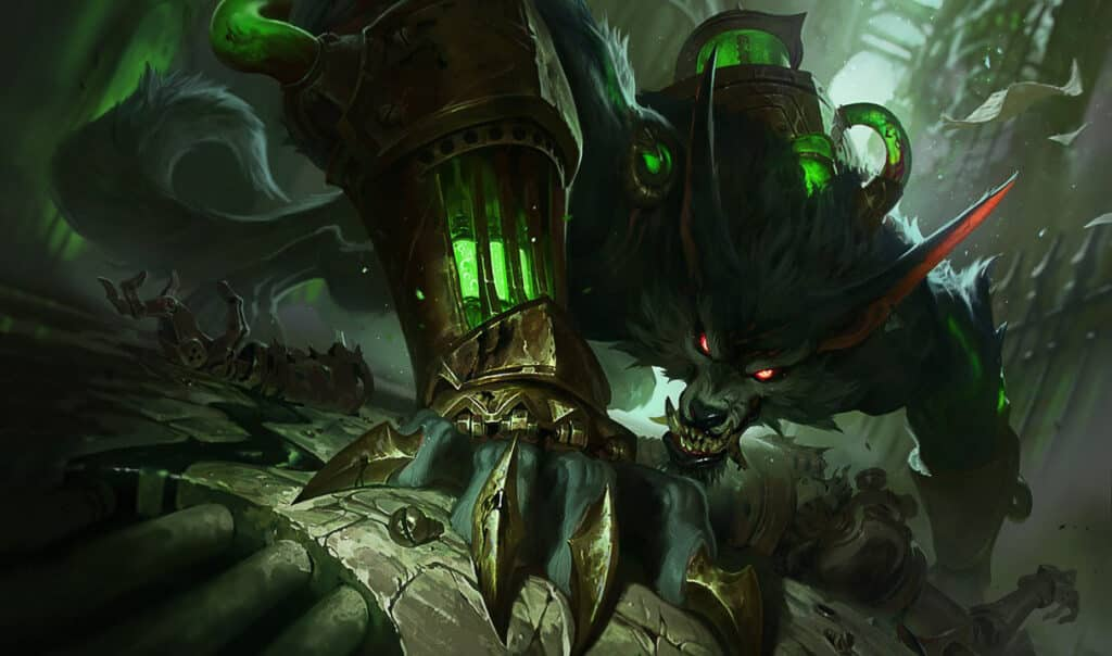 Warwick equipped with hextech gear