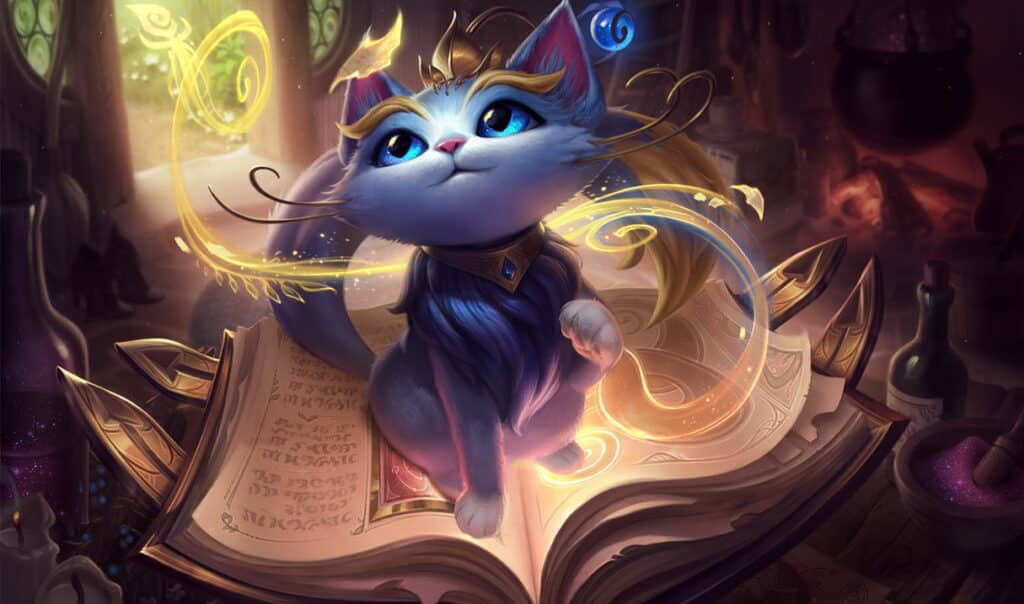 Yuumi sitting on top a floating book | Easiest LoL Champions