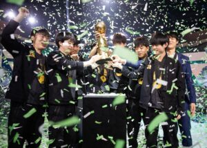 RNG lifting the MSI 2021 Trophy with green confetti | Riot Games 2021 banner