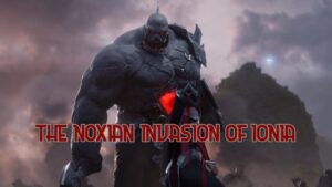 Sion hulking over an injured Irelia - Noxian Invasion Banner