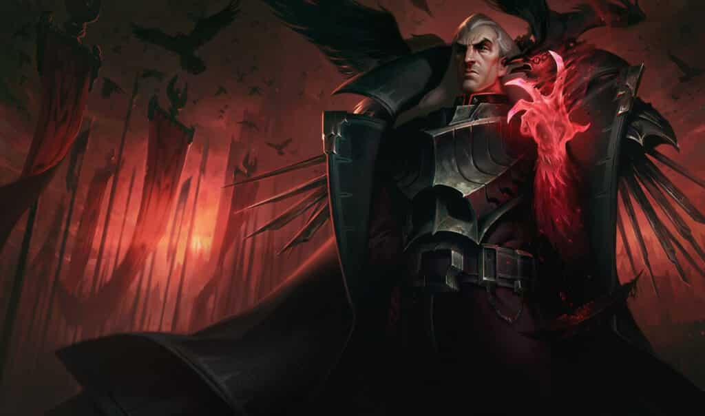 Grand Noxian General Swain standing over the people