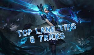 A Blue-haired girl holding a giant pair of scissors | Top Lane Tips and Tricks Banner