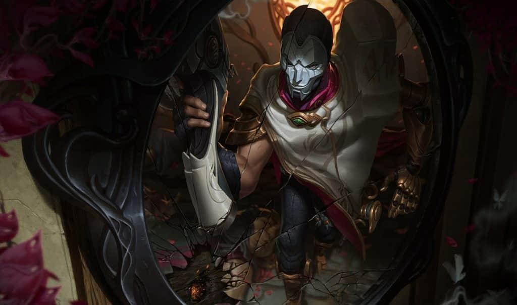 A man with a half-broken mask