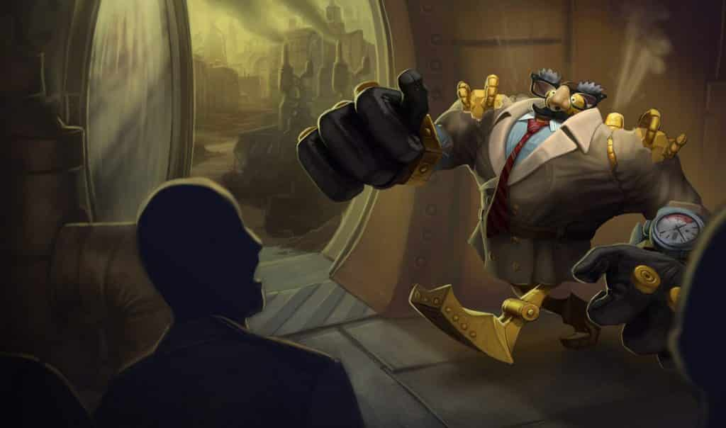 Blitzcrank wearing an obviously fake disguise