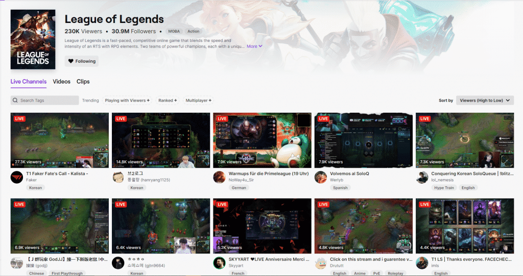 A bunch of LoL streamers on Twitch