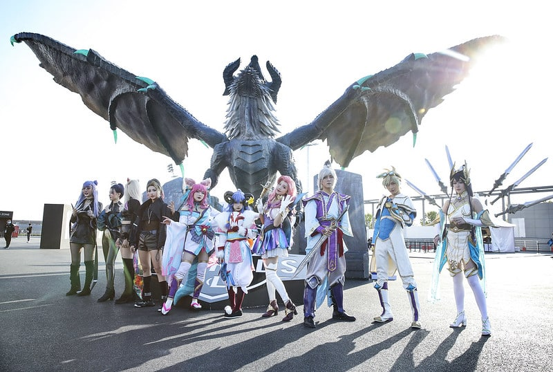 People cosplaying as League of Legends characters