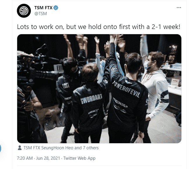 TSM FTX Tweeting about their win