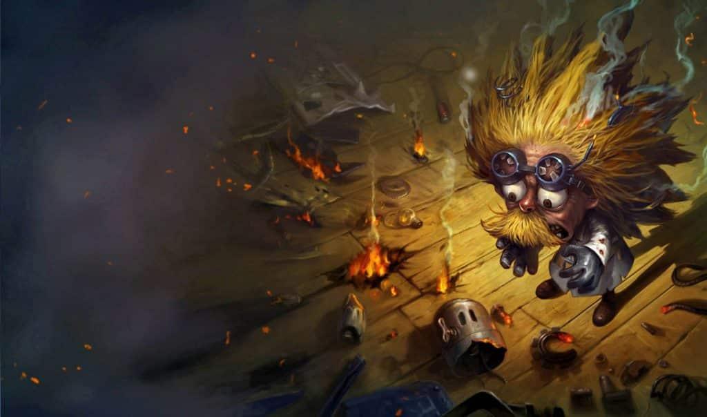 Heimerdinger caught in a cartoonish explosion - Types of LoL Players