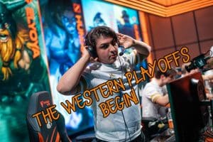 Armut taking off his headphones while staring at the camera | Western LoL Playoffs Banner