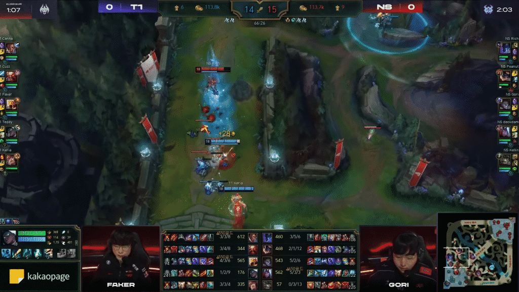 A 70-minute match between Nonshim RedForce and T1 in the LCK