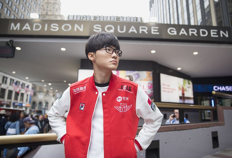 Faker posing in front of Madison Square Garden