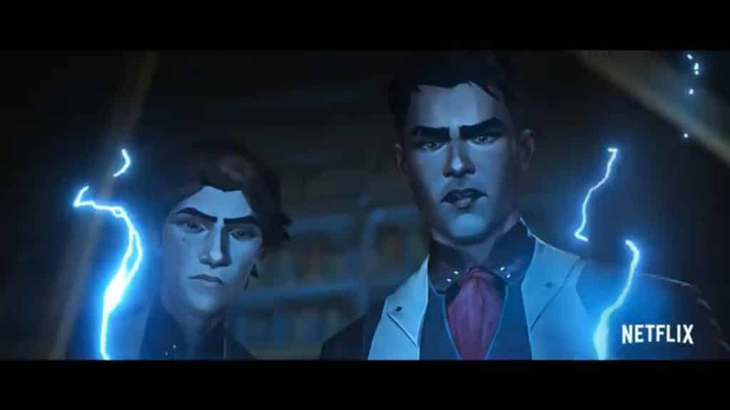 A screenshot of young Viktor and Jayce in the arcane series