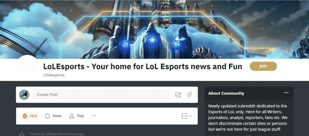 Banner for LolEsports Page in Reddit