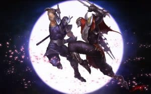 Shen and Zed clashing in the moonlight