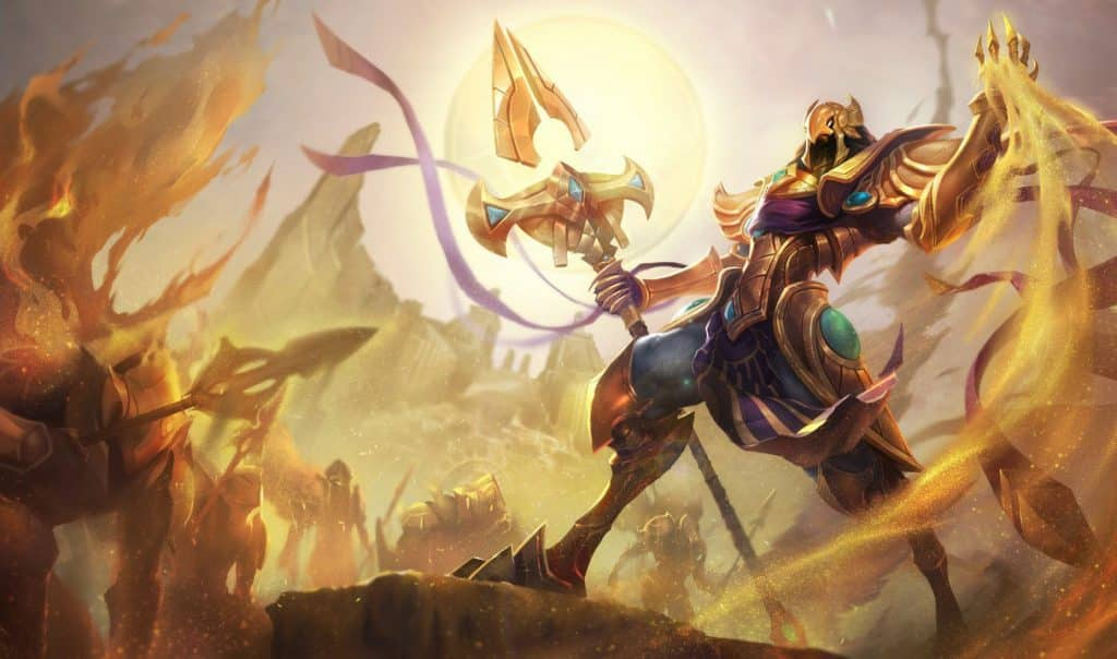 Azir commanding an army of sand soldiers - story of shurima