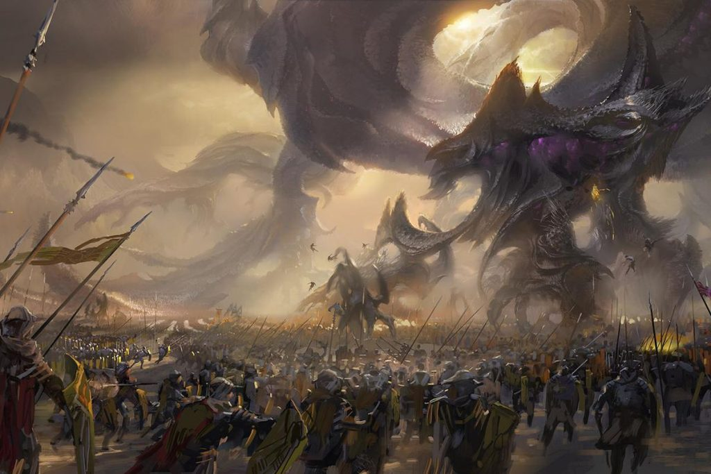 A gigantic voidling facing the army of the shurima - Story of Shurima
