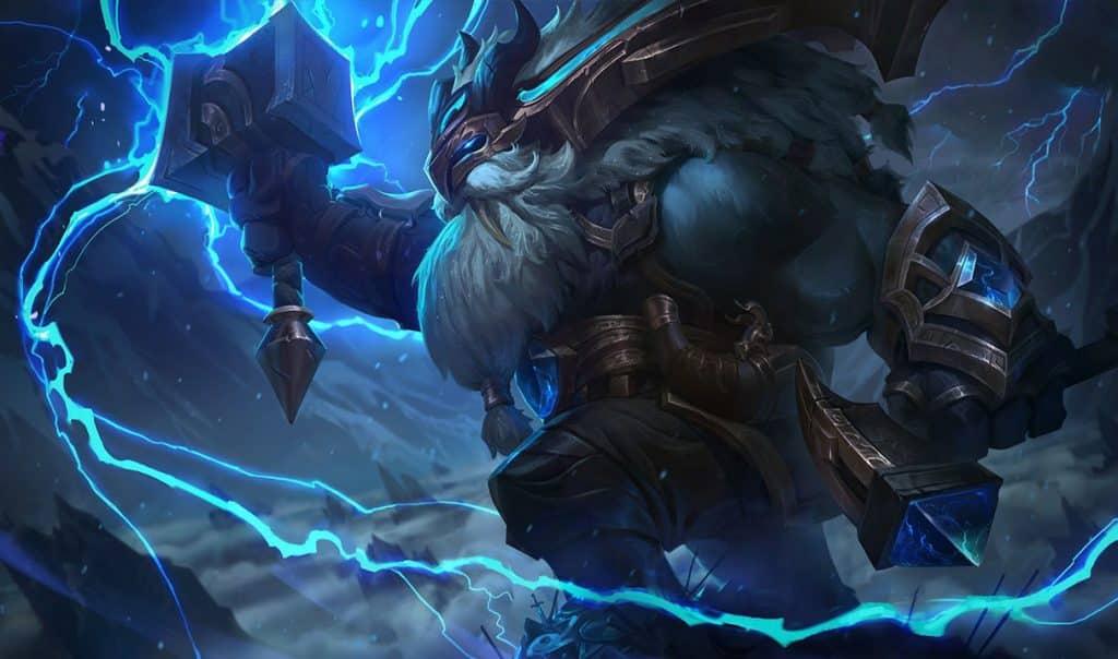 Ornn channeling the power of lightning tankiest LoL champs