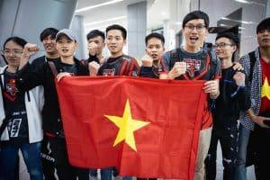 PVB Members Raising a flag of Vietnam - VCS Esports Banner