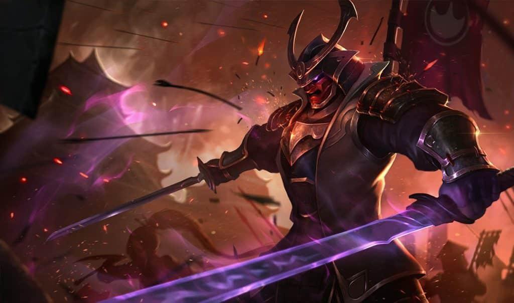 Shen wearing an japanese warlord armorset - tankiest LoL champs